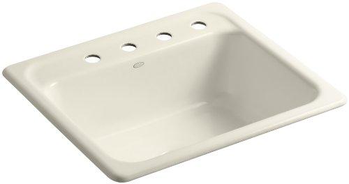 (Kohler K-5964-4-47 Mayfield Self-Rimming Kitchen Sink, Almond )