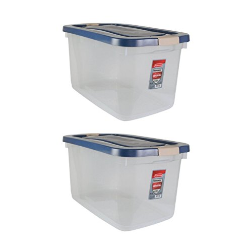 Rubbermaid File Tote (Rubbermaid Heavy-duty plastic Stackable Roughneck Clear Tote,66 Quarts (2)