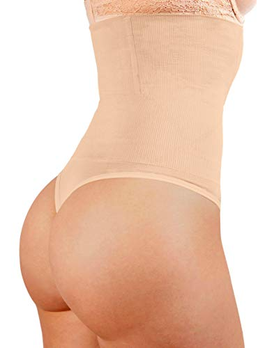 ShaperQueen 102 Best Womens Waist Cincher Body Shaper Trimmer Trainer Slimmer Girdle Faja Bodysuit Short Slip Tummy Belly Weighloss Control Brief Corset Plus Size Underwear Shapewear Thong (XS, Nude) (Best Shapewear For Bodycon Dress)