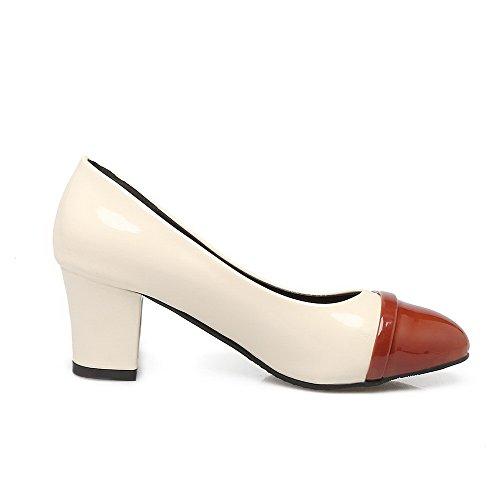 AllhqFashion Damen Blend-Materialien Spitz Zehe Mittler Absatz Ziehen auf Gemischte Farbe Pumps Schuhe Braun