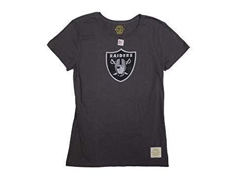 Raiders Reebok Shirt Oakland - Oakland Raiders Ladies/Womens Throwback Retro Logo Vintage Dark Grey T-Shirt Large