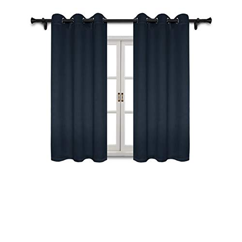 SUO AI TEXTILE Blackout Curtains Home Fashion Thermal Insulated Curtain Grommet Top Blackout Curtains for Living Room/Bedroom 42x63 Inch Navy Blue 2 Curtain Panels (Living And Orange Navy Room)