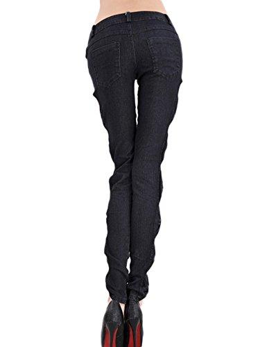 Color Mujeres Diseño Pantalones De Idopy Vaqueros Negro Delgado Moda Flaco Tres wzxBBqF