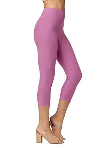 (Premium Ultra Soft Womens High Waisted Capri Leggings - Cropped Length - Solid - Lavender - Small/Medium (0-12))