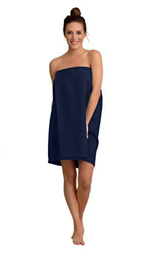 Premium Turkish Cotton Womens Lightweight Knee Length Spa/Bath Waffle Body Wrap with Adjustable Hook-and-Loop Tape (Navy)