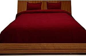 Brightlinen Burgundy Superking (180 X 200 Cm) Duvet Set Fitted Sheet Solid(pocket Size: 34 Cm) 4pcs