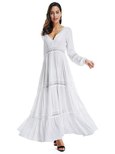 SUNJIN ACRO Women's Sexy Deep V Neck Elegant Lace Backless Long Sleeve Boho White Maxi Dress (White,2)