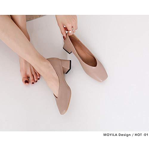 Zapatos Altos Marrón Sencillos Salvaje Y Zzdsh Frescos 35 Resorte Tacones Claro Cuadrada 37 Pequeños Chica Con Gruesa Cabeza Hfn6Bzf