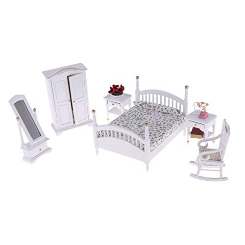 (Fityle 1/12 Dollhouse Bedroom Furniture Kit 10 Pieces –White Double Bed Wardrobe Dressing Mirror Chair Table Telephone Potted Set)