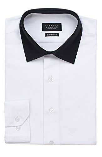 AZAR MAN New Mens Dress Shirt White/Black Collar Tailored Slim Fit Wrinkle Free By (Medium (Two Tone Collar)