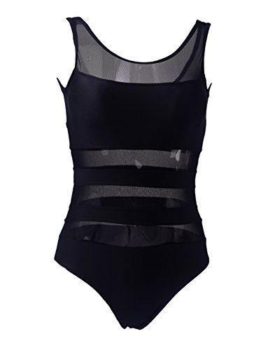 HDE Womens One Piece Striped Chevron Sheer Mesh Cut Out Monokini Swimsuit (Black)