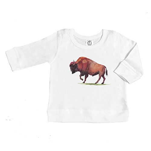 - The Spunky Stork Watercolor Bison Buffalo Organic Cotton Long Sleeve Pullover Shirt (4T) White