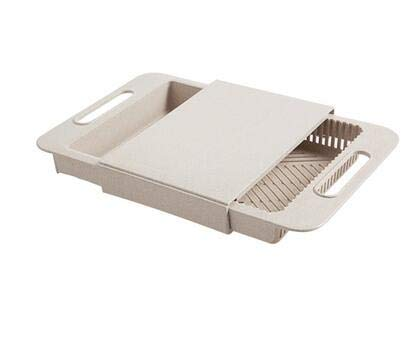 ForShop 3 In 1 Kitchen sink cutting board removable chopping blocks with drain basket shelf for meat vegetable fruit kitchen accessories
