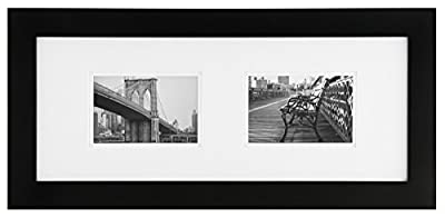 Burnes of Boston 8x20 Black Wall Picture Frame with Double White Mat for Two 4x6 Images 2-6X4