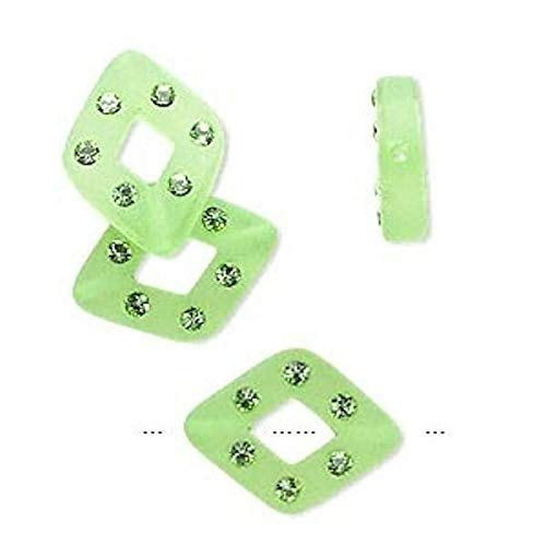 4 Frosted Green Resin 17x13mm Diamond Beads Made with 6 i Crystals