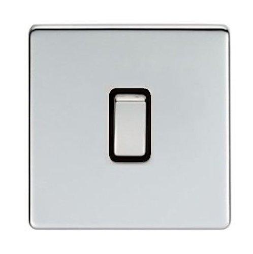 Eurolite, Screwless, Flat Plate, Polished Chrome, 1 Gang 2 Way, Single Light Switch with Matching Polished Chrome Switches by (Eurolite Single)