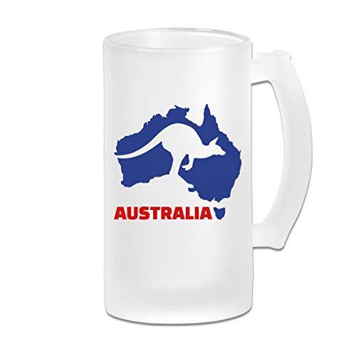 Negi Kangaroo Australia 16 Oz Frosted Glass Stein Wine Beer Mug Vintage Gift]()