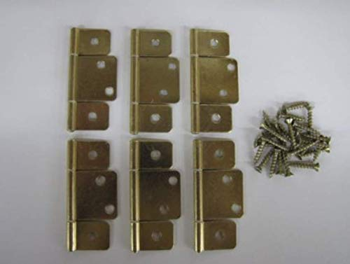 (KS) Pack of 6 New Mobile Home RV Interior Door Hinges - Non-Mortise Polished Brass - with Screws (Mobile Ks)