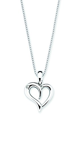 Diamond Accent Heart Necklace (925 Sterling Silver Diamond Accent Heart Pendant Necklace with 18