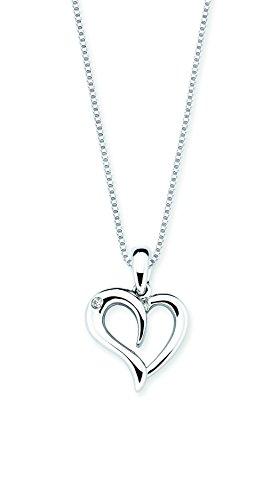 Boston Bay Diamonds 925 Sterling Silver Diamond Accent Heart Pendant Necklace, 18