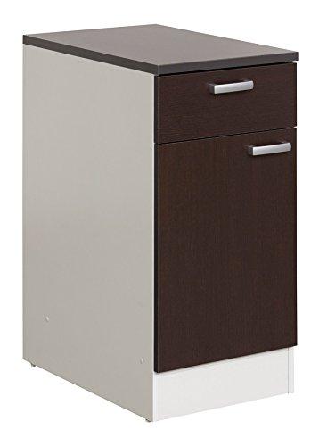 Base cucina componibile con anta e cassetto bianco e wengè: Amazon ...