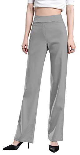 Flat Front Petite Trousers - Foucome Dress Pants for Women-Slim or Bootcut Stretch High Waist Trousers with All Day Comfort Pull On Style Gray