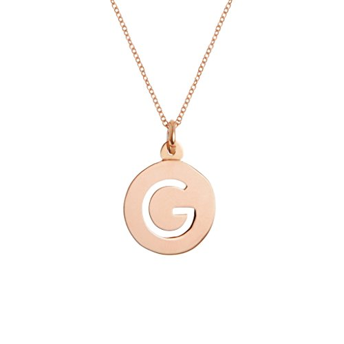 Brook & York Custom Cut Out Round Initial Necklace (16 inch Chain w/ 2 inch Extender)