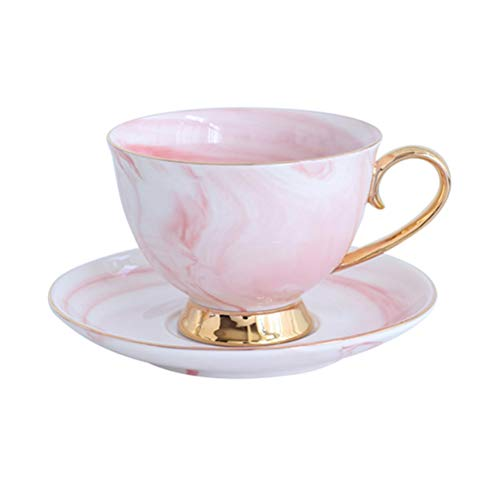Golden Paint Tea Cup and Saucer - 8.2 Ounce Marble Mug with Handle for Coffee,Tea,Cocoa,Milk and Water (Pink with Golden paint)