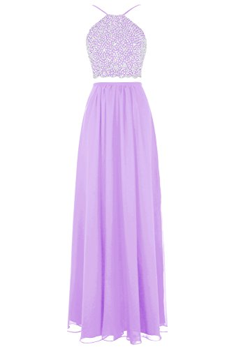 Sequined Bodice (Bbonlinedress Long Chiffon Two Piece Prom Dresses With Sleeveless Sequined Bodice Lavender 4)