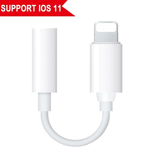 Lightning Jack Adapter,Lightning to 3.5 mm Headphone Jack Adapter Lightning Connector to 3.5mm AUX Audio Jack Earphone Extender Jack Stereo for iPhone X iPhone 8/8Plus iPhone 7/7Plus Support IOS 11