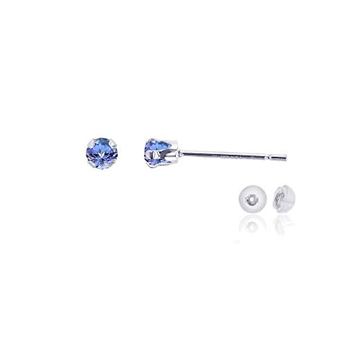 Genuine 14K Solid White Gold 3mm Round Natural Tanzanite December Birthstone Stud - Stone Ring 3 Tanzanite