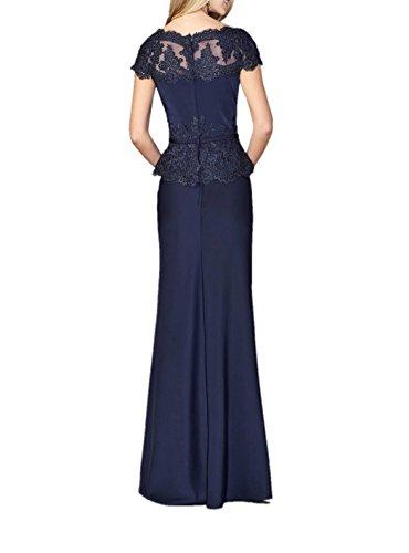 Marie Dunkel Spitze Lang Abendkleider Blau La Etuikleider Langes Brautmutterkleider Navy Fuchsia Braut Kurzarm R6dwxqF