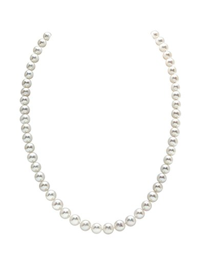 14K Gold 7-8mm White Freshwater Cultured Pearl Necklace - AAAA Quality, 18'' Princess Length by The Pearl Source