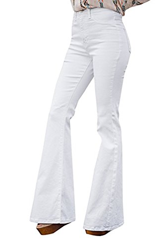 - Lynwitkui Womens Juniors Bell Bottom Mid Waist Jeans Flare Slim Fitted Stretchy Denim Pants White