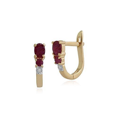Gemondo Bague Boucles d'oreilles rubis, 0,61or jaune 9ct rubis et diamant Boucles d'oreilles créoles