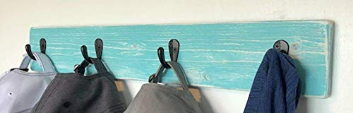 Beach Vibe Coat Rack by Out Back Craft Shack: Farmhouse Decor in Rustic light Teal