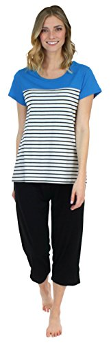 Frankie & Johnny Women's Sleepwear Short Sleeve Blue Tee and Black Capri Pant Pajama Set (Striped Womens Capris)