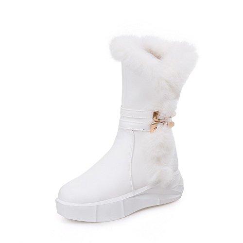 AllhqFashion Damen Rund Zehe Mittler Absatz Weiches Material Niedrig Spitze Rein Stiefel Weiß