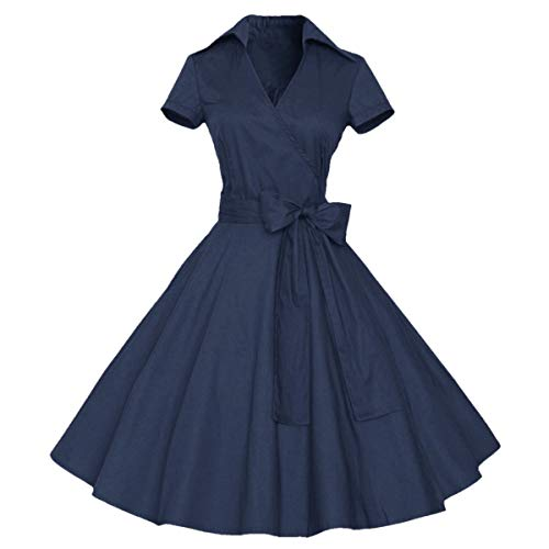 (Samtree Womens Polka Dot Dresses,50s Style Short Sleeves Rockabilly Vintage Dress(L(US 8-10),Navy)