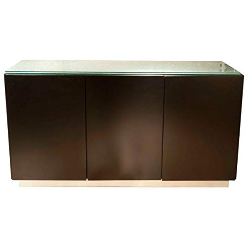 Glass and Dark Walnut 60'' Storage Credenza by SI (Image #4)