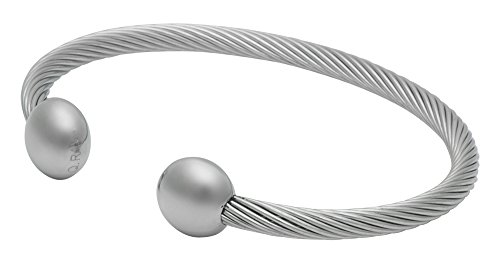 QRAY Silver Deluxe Surgical Steel Golf Athletic Bracelet Men Women C-Shaped Health Wellness Bracelet (Medium: 7