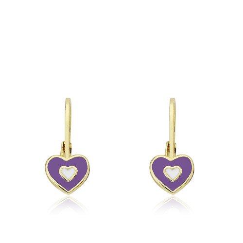 Little Miss Twin Stars Kids Earrings -Lavender Frosted Heart 14k Gold Plated Earrings - Enamel Heart Leverback Girls Earrings - Hypoallergenic And Nickel Free For Sensitive Ears