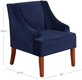home, kitchen, furniture, living room furniture,  chairs 4 image HomePop Velvet Swoop Arm Accent Chair, Navy in USA