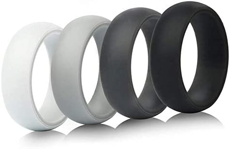 7 Size from 6.5 to 13 4 Colors in 1 Pack White Light Gray Dark Gray Black Suitable for All Activities 9mm Width Pursuit Global Silicone Ring Please Check Size Chart Below