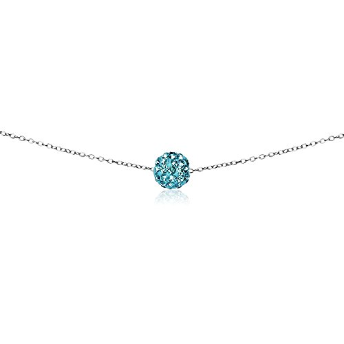 GemStar USA Sterling Silver Light Blue 8mm Crystal Ball Choker (Star Ferido Crystal)