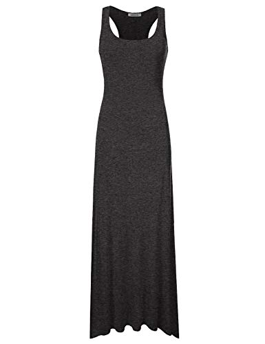 NINEXIS Racerback Women's Tank Neck Dress charcoal Maxi Scoop Awdmd0190 Sleeveless xBxwIFrp