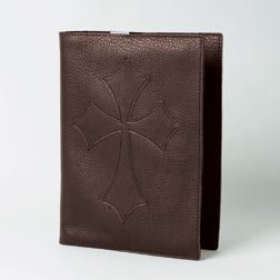 Bob Siemon Designs - Extra Large Genuine Brown Leather Flared Cross Bible Book Cover