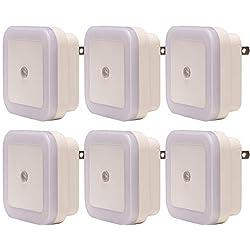 BrightOutlets Plug in LED Night Light Lamp Luz De Noche LED for Hallway, Kitchen, Bathroom, Bedroom - Square Shaped Smart Sensor (6 Pack - White)