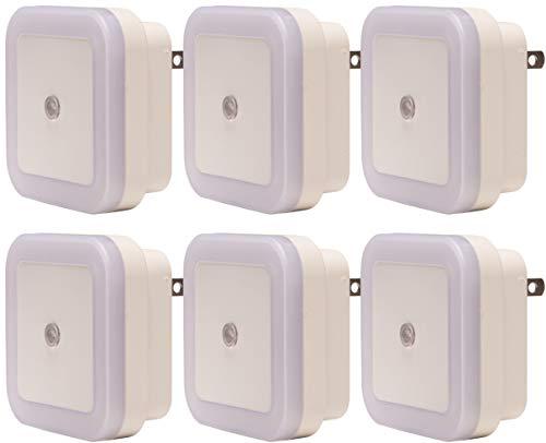 BrightOutlets Plug in LED Night Light Lamp with Dusk to Dawn Sensor for Hallway, Kitchen, Bathroom, Bedroom - Square Shaped Smart Sensor (6 Pack - White)
