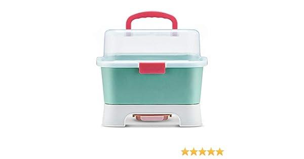 DonLucancy Organizador de almacenamiento de biberones estuche de cuberter/ía caja de almacenamiento a prueba de polvo sin BPA Rejilla de secado para gabinete de cocina